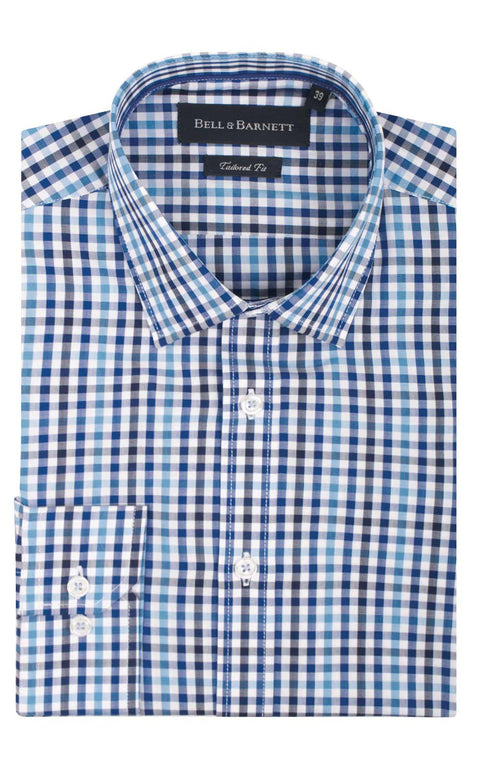 Harley Blue and Navy Check Business Shirt - front.