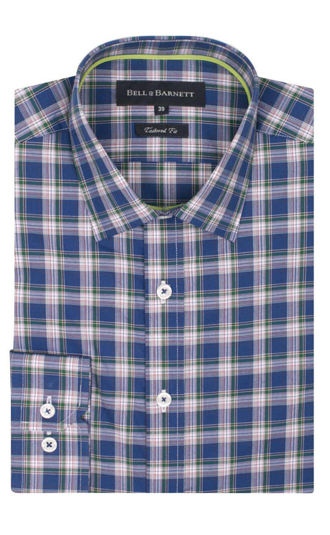 Carter Blue Check Business Shirt - front.