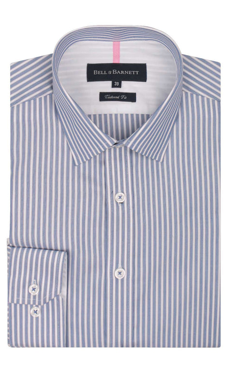 Abel Blue, Pink and White Stripe Business Shirt - front.