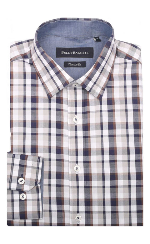 Josiah Taupe/Navy Check Cotton Shirt