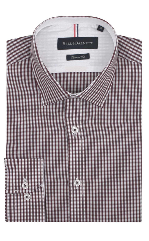 Noah Burgundy Check Formal Shirts - front.
