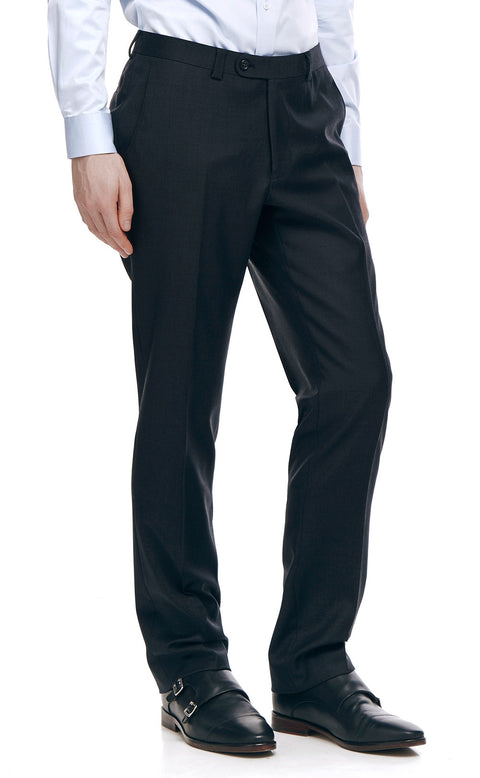 Devonte Charcoal Classic Wool Suit Trousers - front zoomed.