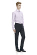 Charcoal men's wool dress pants - front.