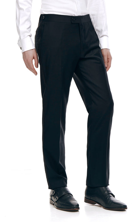 Royale Black Wool Tuxedo Trousers - front zoomed.