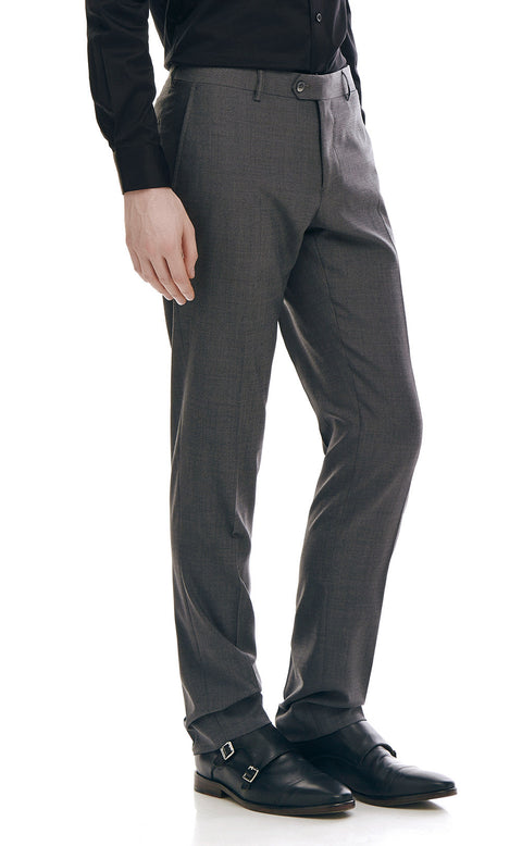 Alberto Charcoal Wool Suit Trousers - front zoomed.