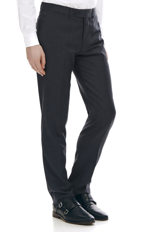 Maurice Charcoal Slim Fit Wool Suit Trousers - front zoomed.