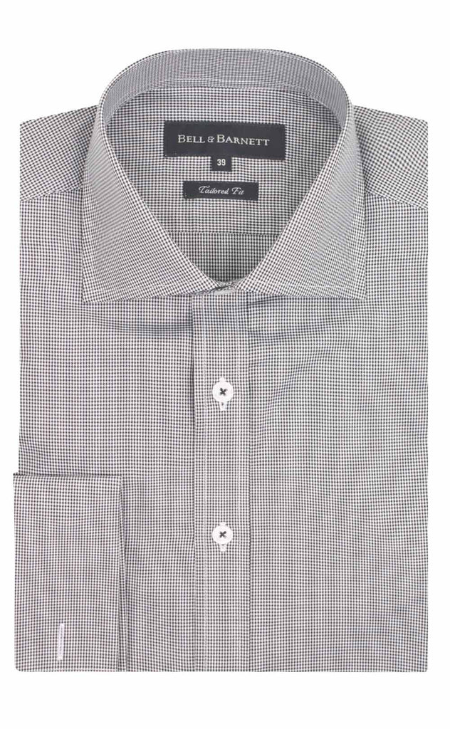 Regular Fit White With Black Check French Cuff Cotton Dress Shirt Men's Clothing