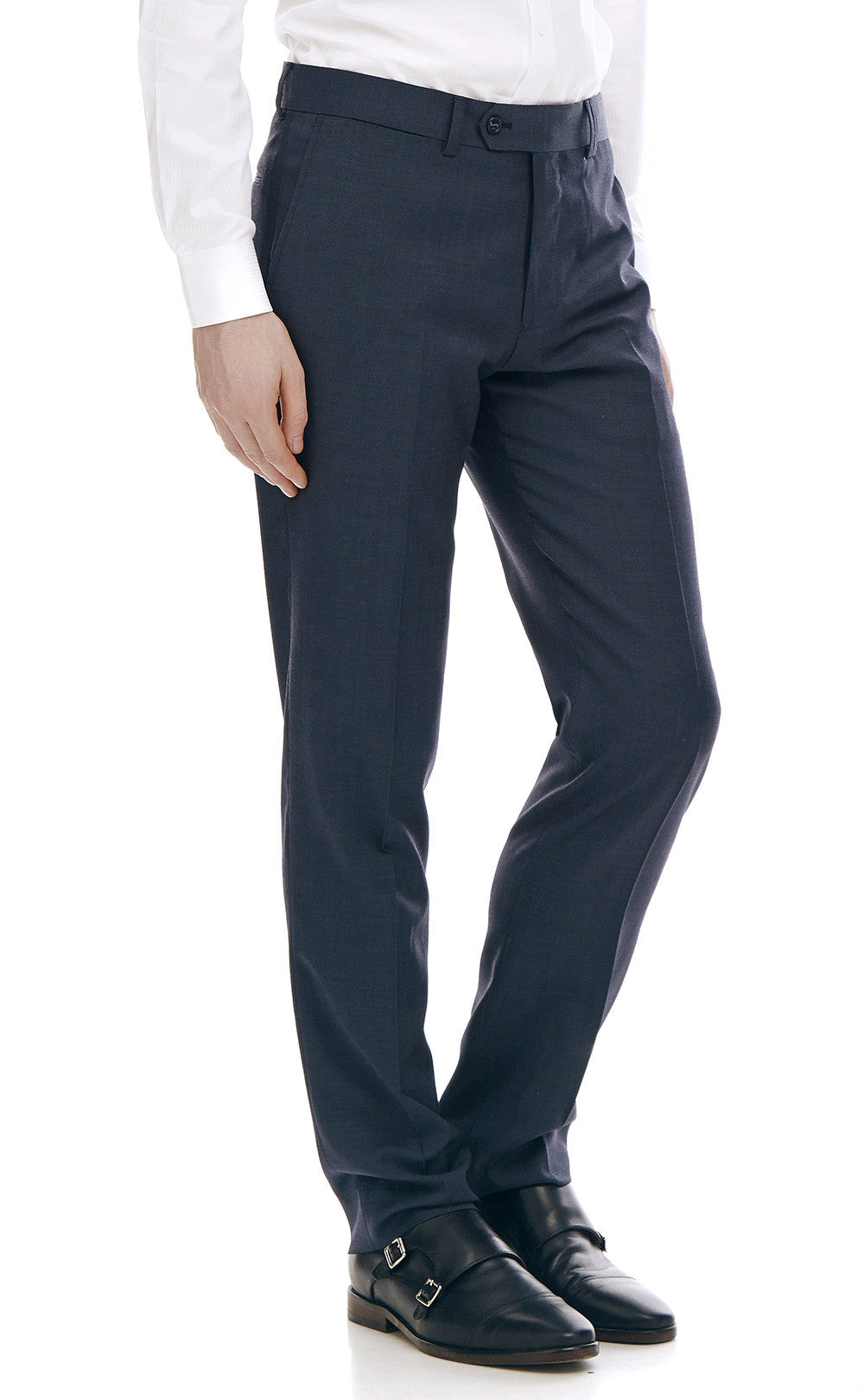 Maurice Navy Slim Fit Wool Suit Trousers - front zoomed.
