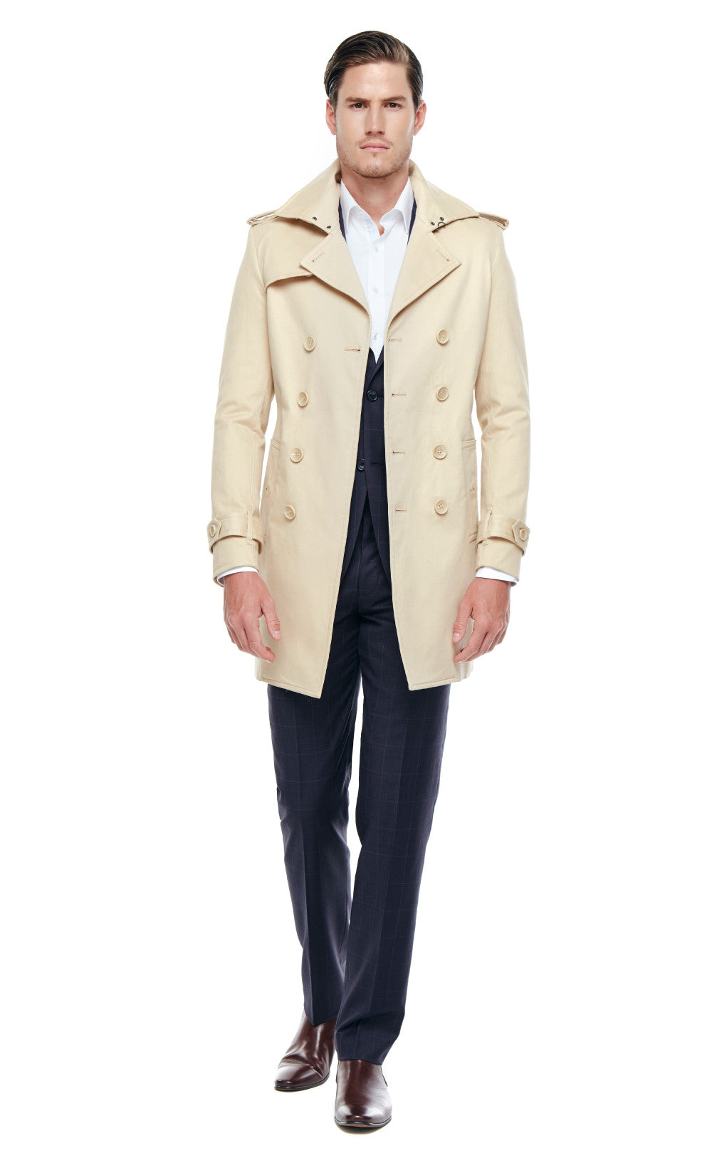 Chadwin Beige Double Breasted Cotton Trench Coat