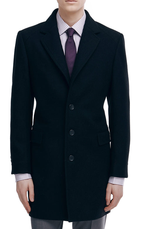 Conrad Black Wool Blend Single Breasted Coat - front zoomed.