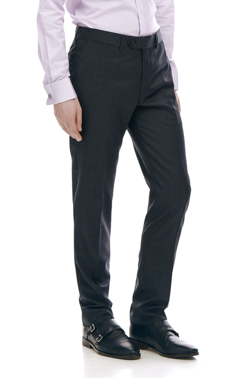 Pharrell Charcoal Slim Fit Wool Suit Trousers - front zoomed.