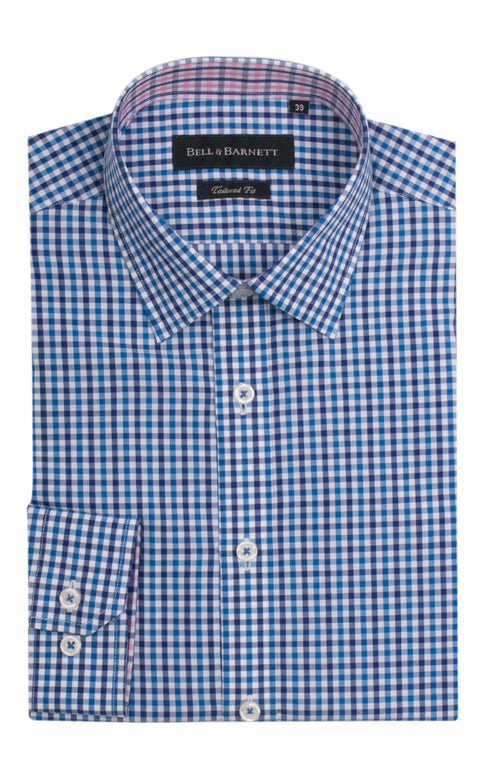 Adam Blue/White Check Cotton Shirt