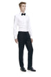 Slim fit men's black formal pants - front.
