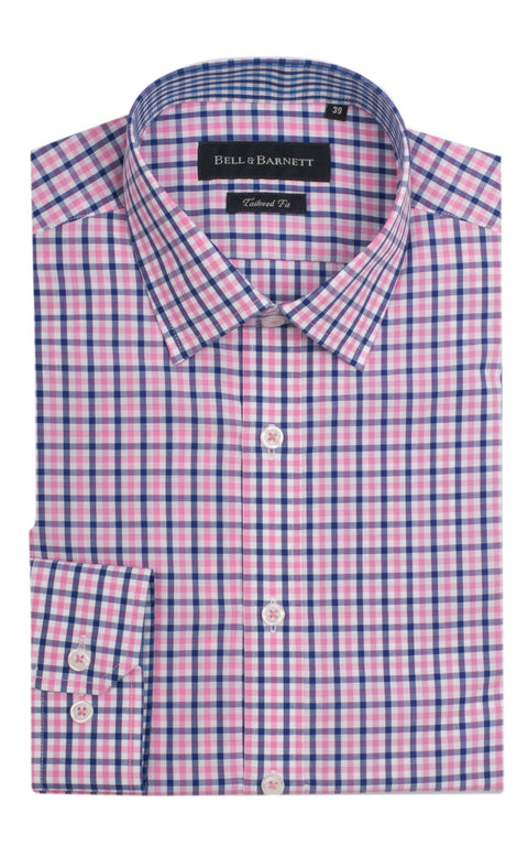 Henry Pink and Blue Check Cotton Shirt