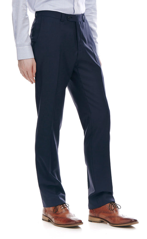 Devonte Navy Classic Wool Suit Trousers - front zoomed.