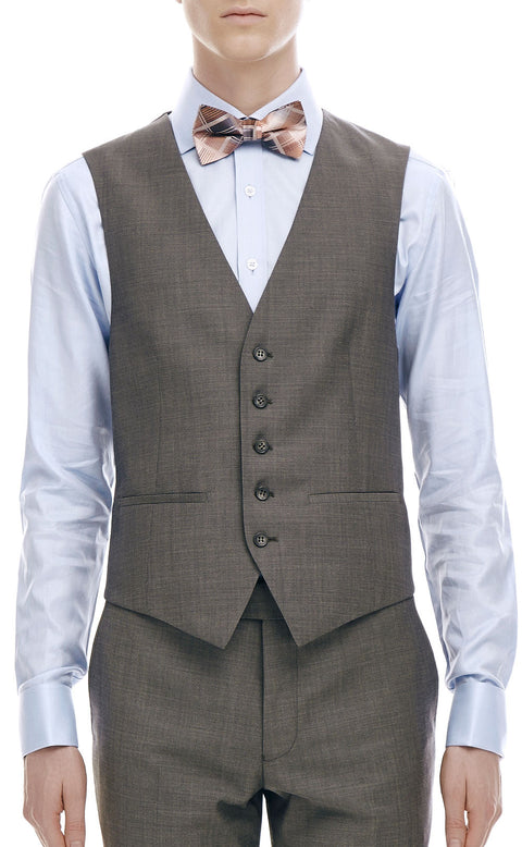 Maurice Grey Wool Vest - front zoomed.