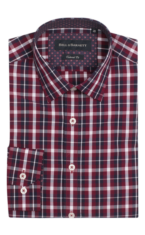 Michael Red/Blue Check Cotton Shirt
