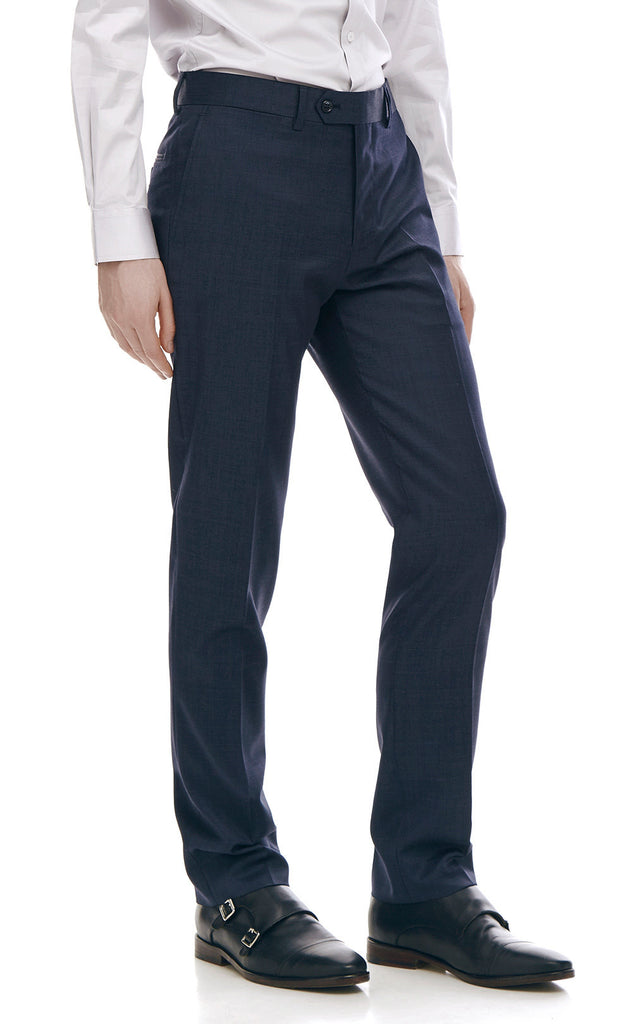 Pharrell Navy Slim Fit Wool Suit Trousers - front zoomed.