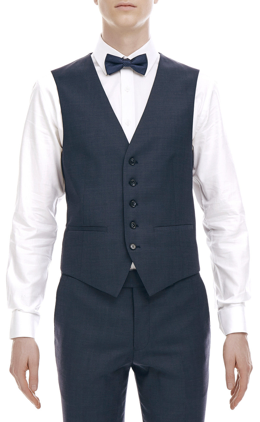 Maurice Navy Wool Vest - front zoomed.