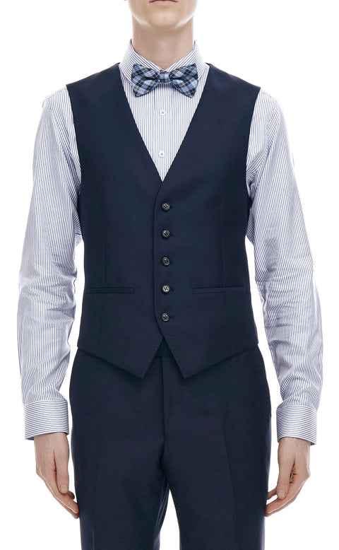 Devonte Navy Wool Vest - front zoomed.