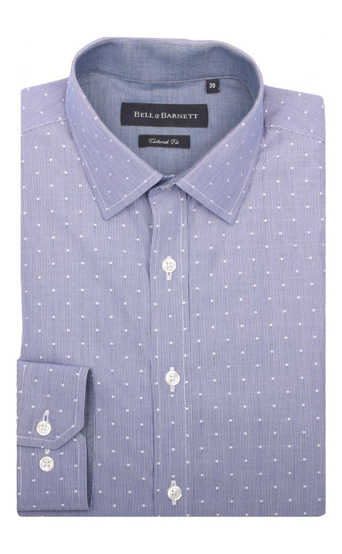 Nicholas Navy White Spot Cotton Shirt