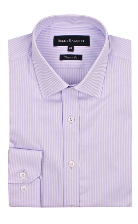 Mason Lilac Herringbone Slim Fit Business Shirt - front.