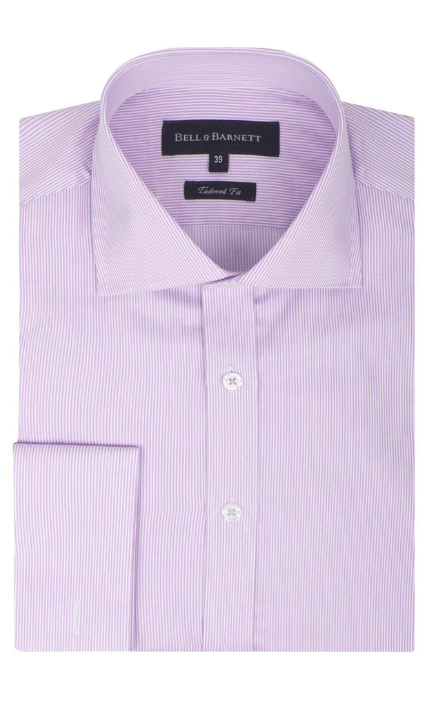 Quinton Lilac Stripe French Cuff Cotton Shirt - front.