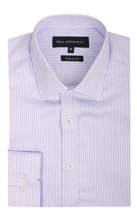 Avery Lilac and White Stripe Men's Business Shirt - front.