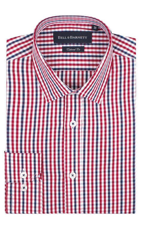 Wyatt Red and Navy Check Business Shirts - front.