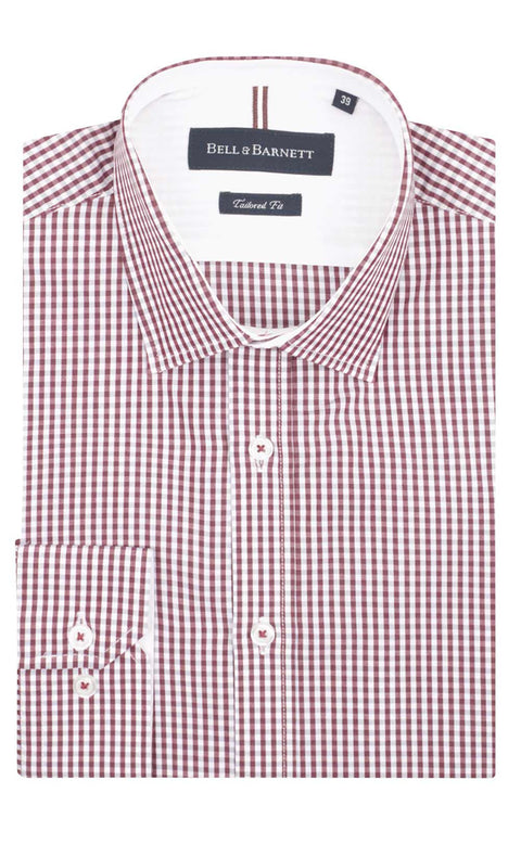 Tyler Burgundy and Grey Check Business Shirt - front.