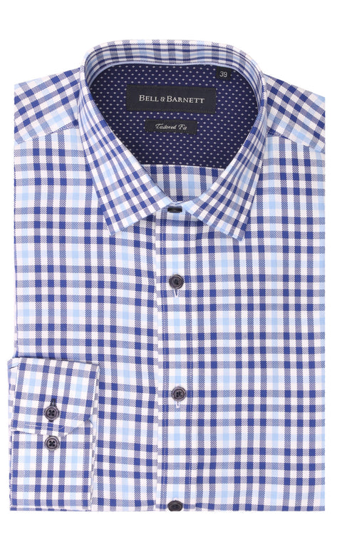 Alex Blue/White Check Cotton Shirt
