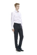 Slim fit men's black business slacks - front.