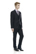 Men's classic cut formal black suit - front side.