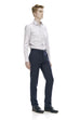 Slim fit navy trousers - front.