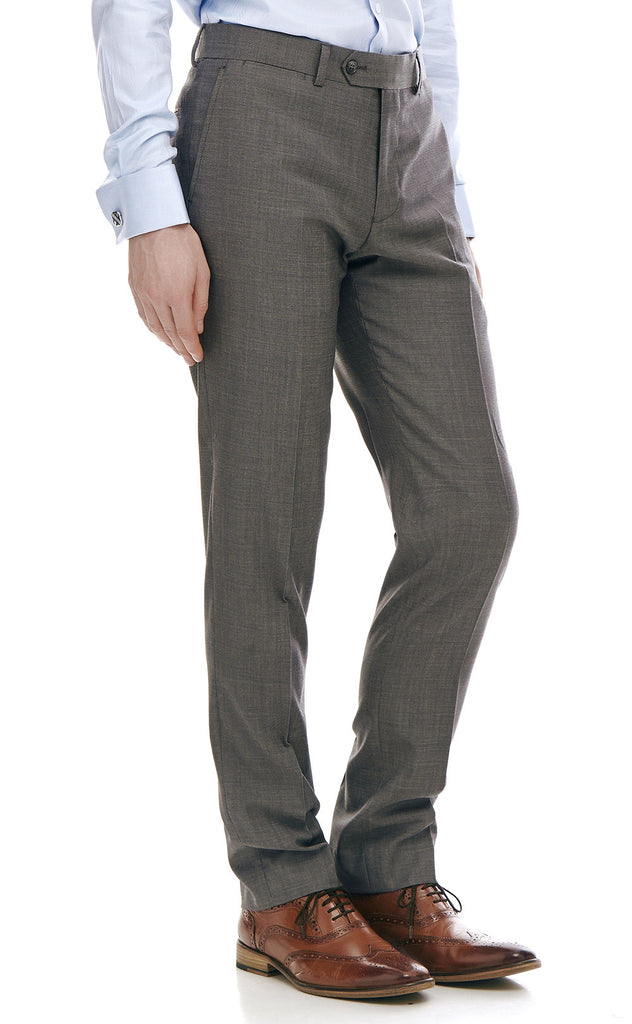 Maurice Grey Slim Fit Wool Suit Trousers - front zoomed.