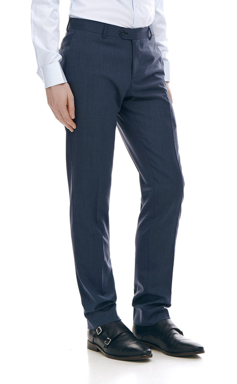 Alberto Blue Wool Suit Trousers - front zoomed.