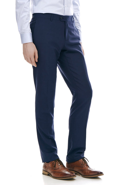 Alberto Navy Wool Suit Trousers - front zoomed.