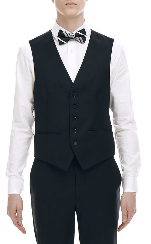 Maurice Black Wool Vest - front zoomed.