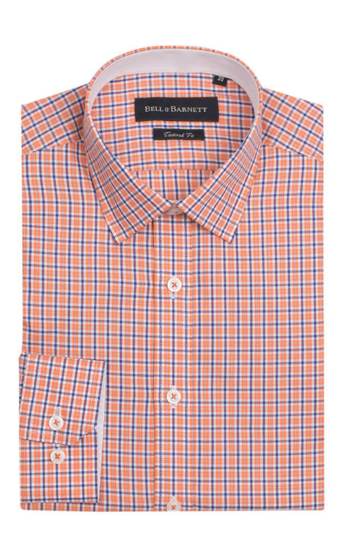Carson Orange and Blue Check Cotton Shirt