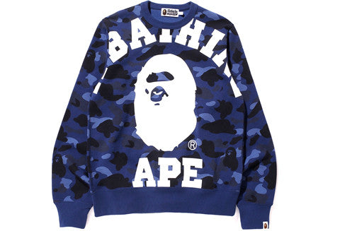 Bape Big College Blue Color Camo Sweater