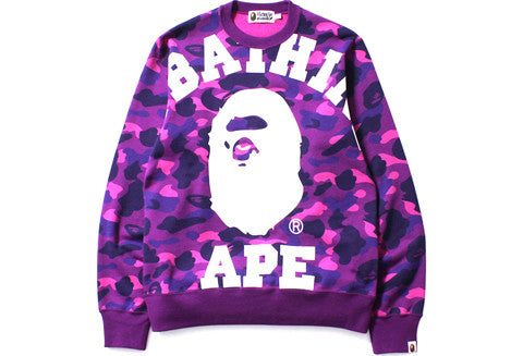 Bape Big College Purple Color Camo Sweater