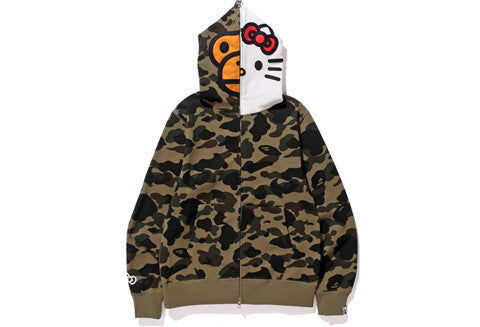 Bape X Hello Kitty Green Camo Hoodie