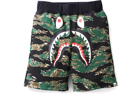 Bape Tiger Camo Shark Sweat Shorts