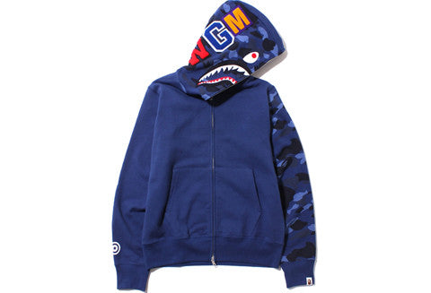 Bape Blue Color Camo Shark Full Zip Hoodie
