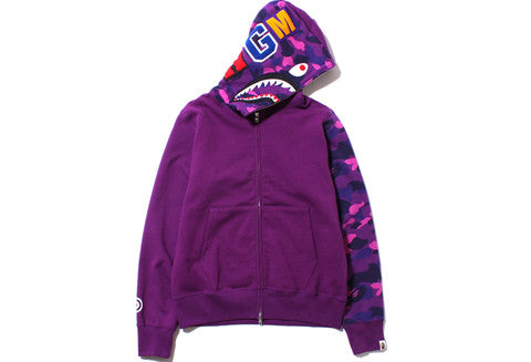 Bape Purple Color Camo Shark Full Zip Hoodie