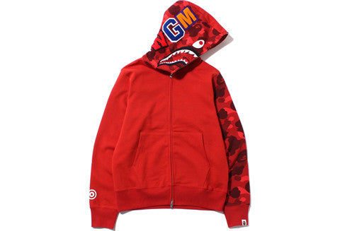 Bape Red Color Camo Shark Full Zip Hoodie