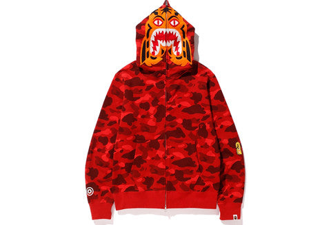 Bape Red Camo Tiger Full Zip Hoodie