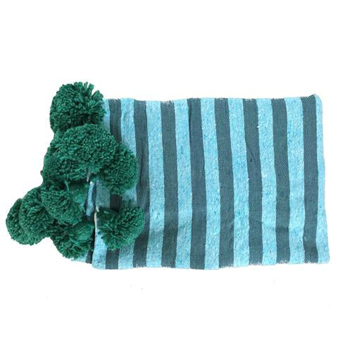 ASSIA pompom throw - blue/teal/green