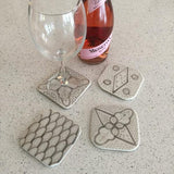 Moroccan porcelain COASTERS - set of 4 GRAY