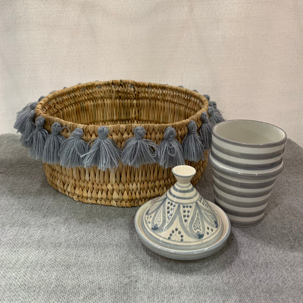 SEVERINE basket with tassels- small GRAY